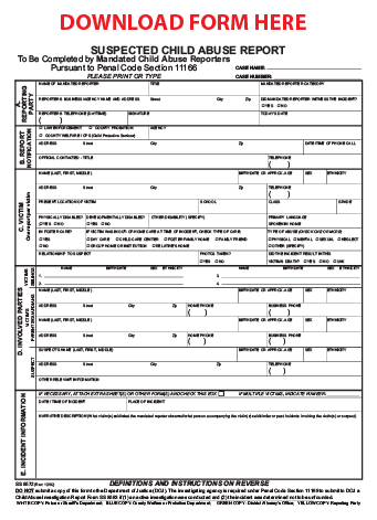 Fillable Suspected Child Abuse Report Form
